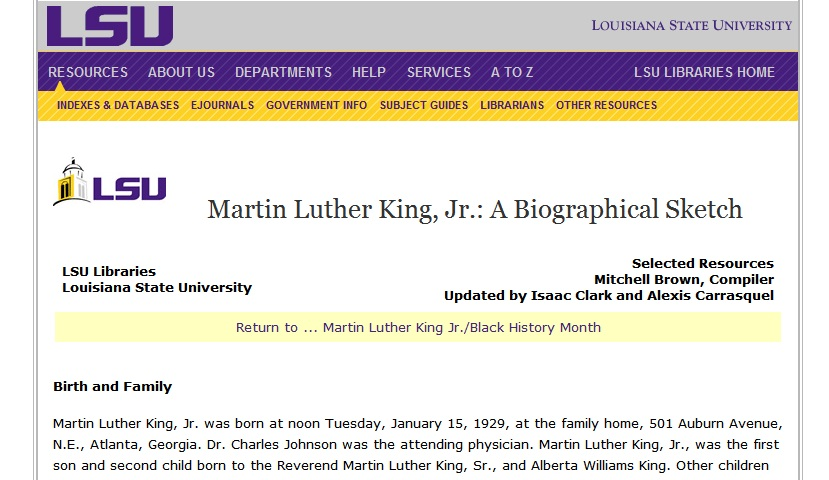 MLK Timeline And Biography The LSU Library Put Together This Amazing Set Of Links Documents Facts About Life Dr King Is